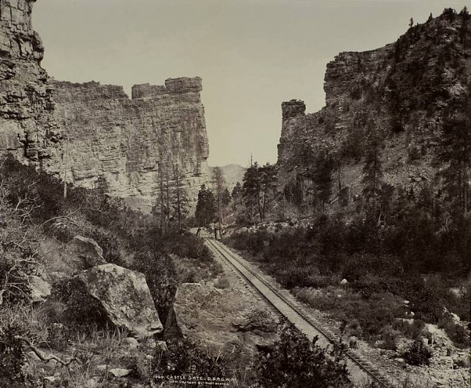 William Henry Jackson ,   Castle Gate, Utah  ,  c.1883     Vintage albumen print from a mammoth-plate glass negative ,  16 7/8 x 20 3/4 in. (42.9 x 52.7 cm)     2033     Sold