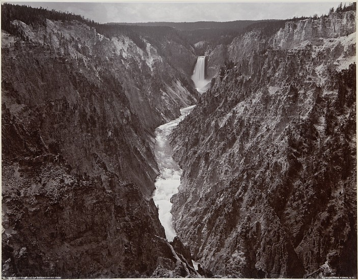 Frank Jay Haynes ,   Grand Canyon of the Yellowstone and Falls  ,  c.1887     Vintage albumen print from a mammoth-plate glass negative ,  16 11/16 x 21 3/8 in. (42.4 x 54.3 cm)     2144     Sold